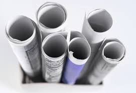 Rolled documents stock image
