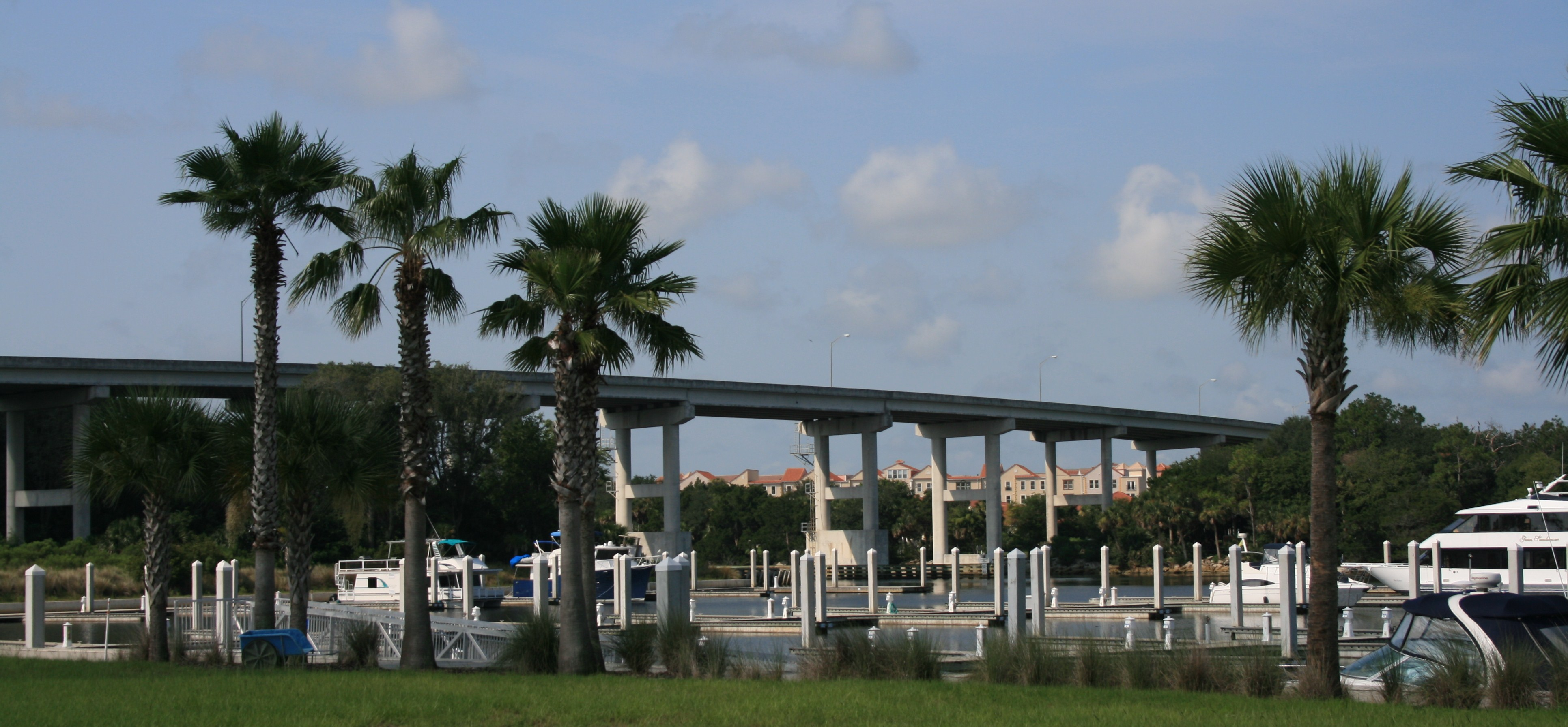 Image of the bridge, water and boats